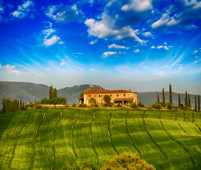 Italian landscape. Tuscany fields and meadows in spring season