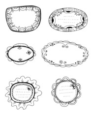 Set of 6 hand - drawn decorative frames