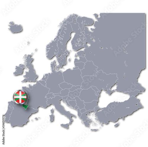 Europakarte mit Baskenland