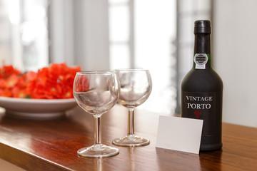Port Wine Glasses and Bottle