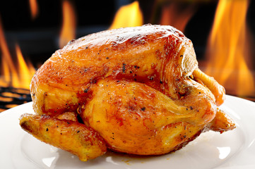 roasted chicken on white plate