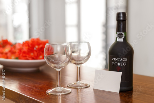 Port Wine Glasses and Bottle