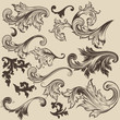Set of vector swirls in vintage style for design