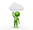 3d man with a cloud overhead