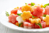 Fruit salad with watermelon and melon