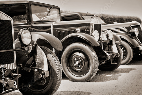 Foto op Aluminium Vintage cars Voitures de collection du début du 20ème siècle, sépia