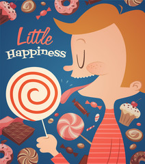 Little happiness. Vector poster