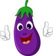 Cartoon cute Eggplant Thumb up