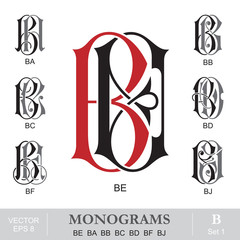 Vintage Monograms BE BA BB BC BD BF BJ