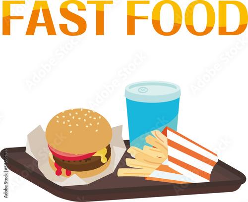ファーストフードのハンバーガーとフライドポテト