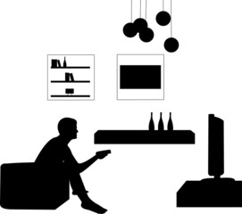 Man watching tv in living room