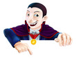 Cartoon Dracula Pointing Down