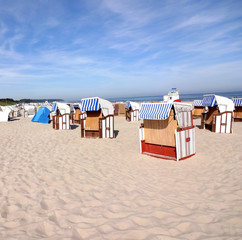 Warnemünde beach chairs, Baltic resort (Germany, Europe)