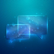 abstract blue background with glass transparent speech bubbles
