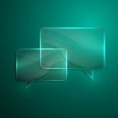 abstract background with glass transparent speech bubbles