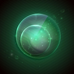 abstract green background with glass transparent sphere.
