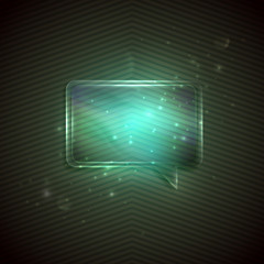 abstract green background with glass transparent speech bubble