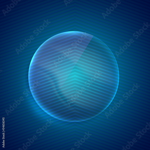 abstract blue background with glass transparent sphere.
