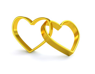 Golden heart wedding ring
