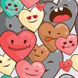 kawaii hearts seamless  pattern - 54657500