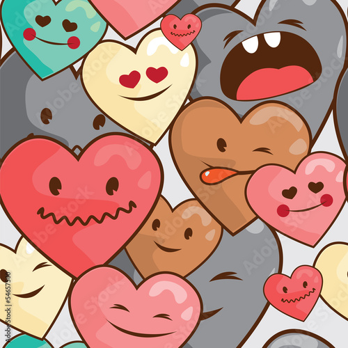 kawaii hearts seamless  pattern