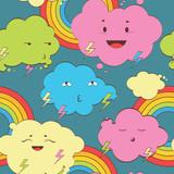 kawaii clouds seamless pattern - 54657704