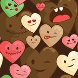 kawaii hearts seamless  background - 54657747