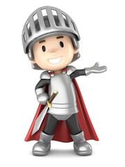 3d render of a cute knight boy presenting