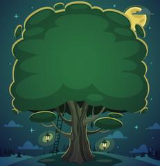 Night tree background. Vector illustration.