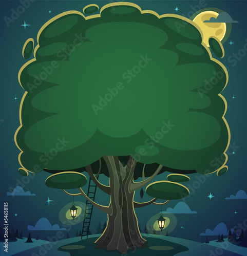 Night tree background. Vector illustration.