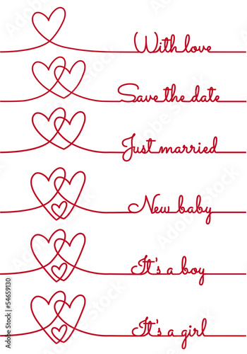 heart line drawing with text for cards, vector