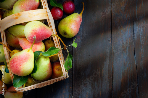 Art abstract design background  fruits on a wooden background