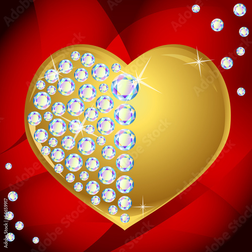 Vector golden heart with diamonds on red