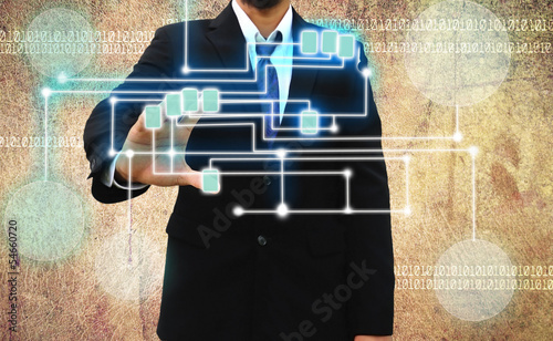 businessman scanning of a finger on Grunge background