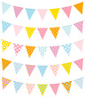 Set Of 5 Seamless Buntings Dots Pastel/Blue
