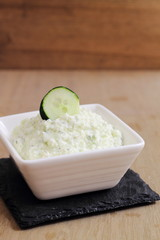 Tzatziki, traditional Greek dip made of yogurt and cucumber