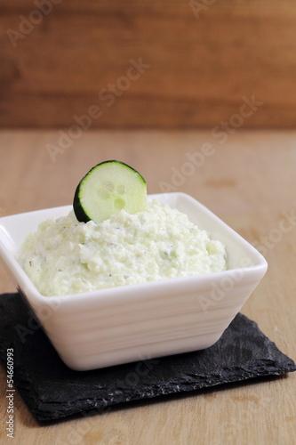 Tzatziki, traditional Greek dip made of yogurt and cucumber