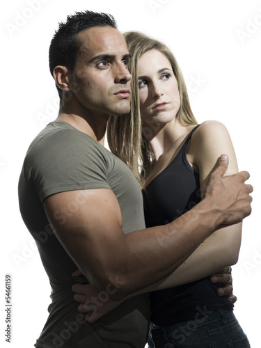 young interesting man and womanshowing an intense relationship