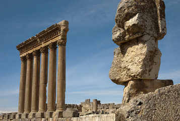 the six columns of the Temple of Jupiter in Baalbek