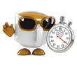 Coffee cup times the event with a stopwatch