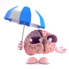 Brain holds an umbrella