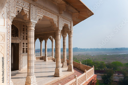 Columned viewing point outside royal chambers at Agra Fort.