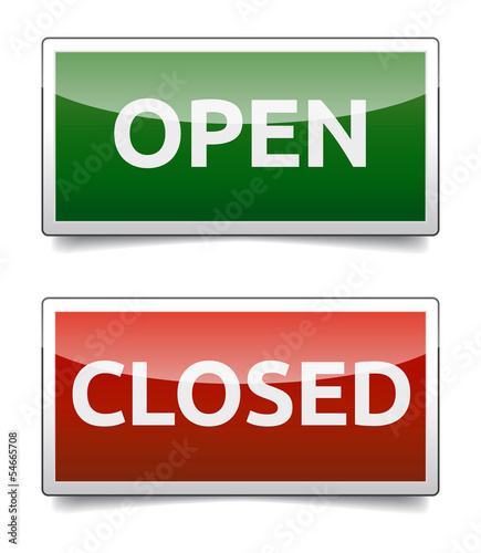 OPEN - CLOSED color board with shadow on white background.