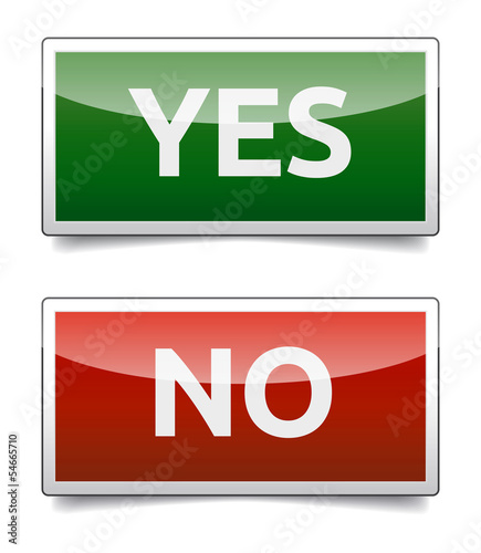 YES - NO color board with shadow on white background.