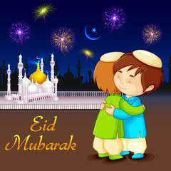 vector illustration of people hugging and wishing Eid Mubarak
