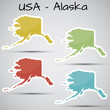 stickers in form of Alaska state, USA