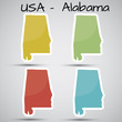 stickers in form of Alabama state, USA