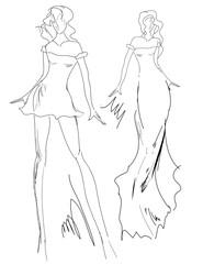 Sketch moda donne
