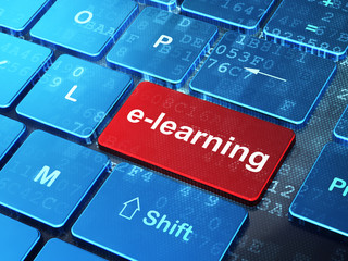 Education concept: E-learning on computer keyboard background