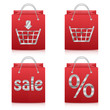 paper shopping bags in red isolated on white background.set of s